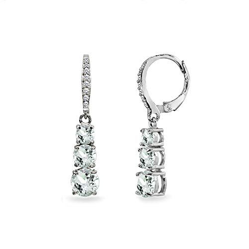 t Aquamarine and Cubic Zirconia 3-Stone Journey Dangle Leverback Earrings for Women Teen Girls ()