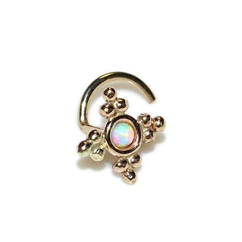 Gold Nose Stud with 2mm Opal 20g / Nose Hoop, Tragus Stud, Helix Stud