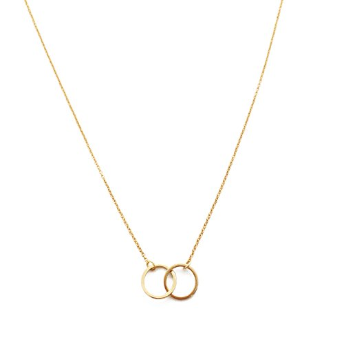 - HONEYCAT 24k Gold Plated Mini Harmony Interlocking Circles Necklace | Minimalist, Delicate Jewelry (Gold)