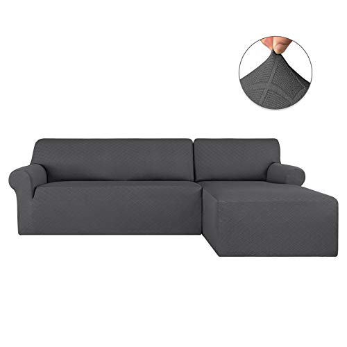 subrtex 2 Pieces Jacquard L Shape Couch Cover Stretch Fabric Sectional Sofa Slipcovers Furniture Protector for 2-Seater (Right Chaise, Gray Rhombus