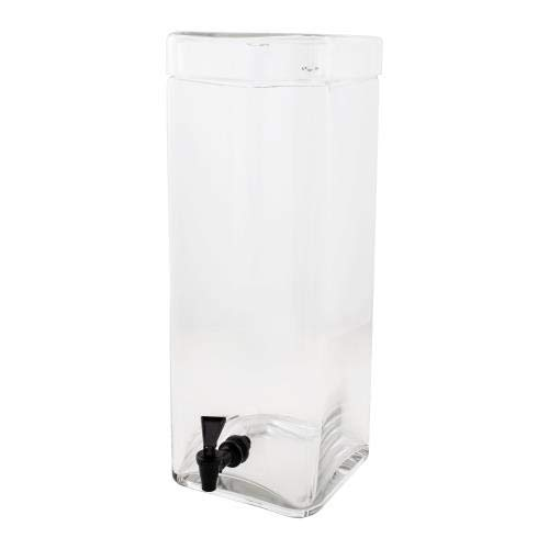 "Cal-Mil 1733-3 Square Glass Infusion Dispenser, 3 gal, 8"" W x 8"" D x 19"" H, Clear from Cal Mil"