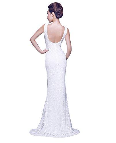 Emily Abend Bodycon Spitze Beauty Kleid Weiß Offenes V Rückenfrei seitliches Ansatz dH8dtgxqw