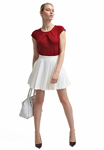 Field Short Sleeve Top (Anna Field Women's Pleated Neckline Short Sleeve Formal Blouse)