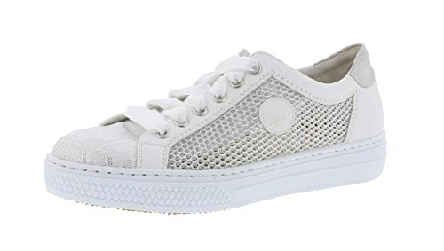silber 81 Weiss Donna sneaker L59d6 weiss traspirante Rieker Basso scarpa weiss silber silver Stringata pPwHO4Zq4