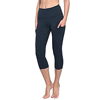BALEAF Women's Workout Yoga High Waist Capris Pocketed Cropped Leggings 3/4 Exercise Athletic Tights Dark Blue Size L