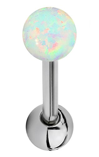 (14G 16mm (5/8 Inch) White Resin Imitation Opal Ball Top Tongue Ring Barbell)