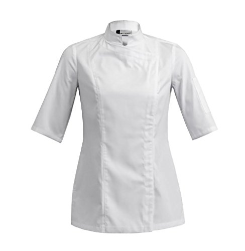 SIENNE Short Sleeve Womens Culinary Chef Jacket with Square Mandarin Collar by Clement Design (M - 32/34 - T1, White) from Clement Design USA