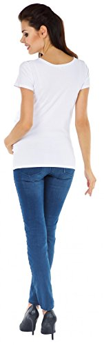 Zeta Ville - T-shirt Camiseta Premamá estampado *Baby Inside* para mujer - 003c Blanco & Polvo Rosa