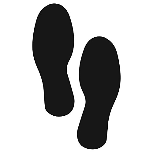 12' Black Dress - LiteMark X-Large Size Black Footprint Decal Stickers for Floors and Walls - Pack of 4 (2 Pairs)