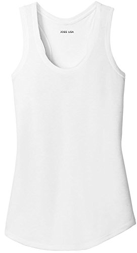 Cotton Rib Tank - Joe's USA(tm) Ladies Tri-Blend Racerback Tank Top-White-XL