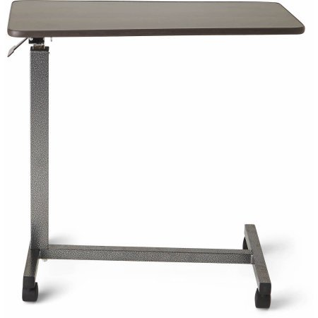 Medline Overbed Table With Three Position Tilt, Walnut, Supports Up to 50 lbs