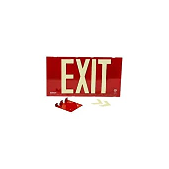 Green Aluminum//Steel Single Sided with Bracket 75 Viewing Distance Glo UL 924 Listed Exit Sign Steel Framed