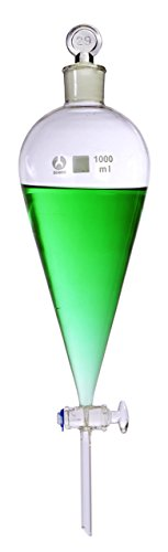 American Educational Bomex Glass Conical Separatory Funnel, 1000mL Capacity