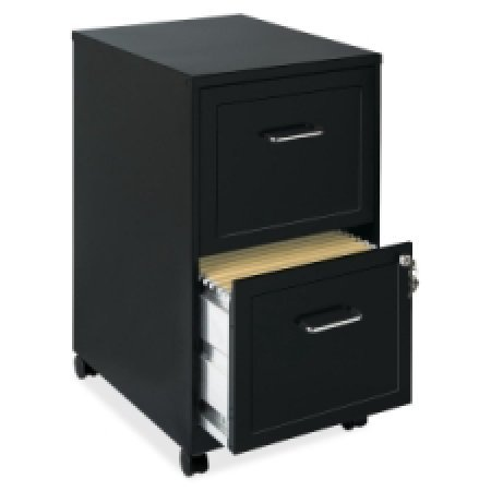 Lorell SOHO Mobile 2 Drawer File Cabinet in Black            - Mobile Drawer 2 Cabinet File
