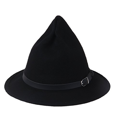 Prefe Women's 100% Wool Belt Fedora Witch Hat Halloween Costume Accessory (Black)