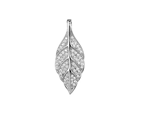 Maile Leaf Pendant - Arthur's Jewelry Rhodium Plated 925 Sterling Silver Hawaiian Maile Leaf cz 12.50mm Pendant