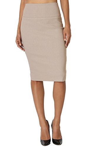 TheMogan Women's Slim! Basic High Waisted Stretch Pencil Knee Skirt Khaki S (Slim Skirts Zipper)