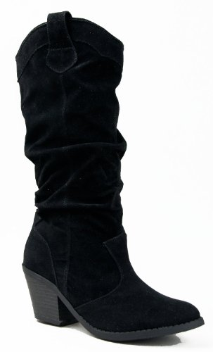 Qupid MUSE-01 Western Cowboy Inspired Slouchy Mid Calf Knee High Stacked Heel Boot ZOOSHOO