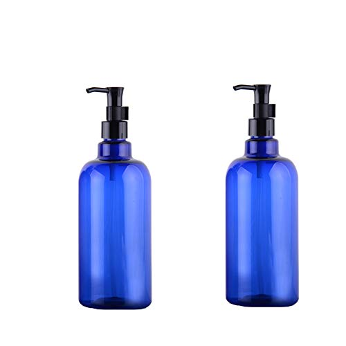 2PCS 500ml/17 OZ Empty Refillable Blue Plastic Shampoo Bottle Cosmetics Jar Pot Case Holder With Black Pump Head And Locking System For Cleanser Makeup Essential Oil Lotion Dispense Container(Blue)