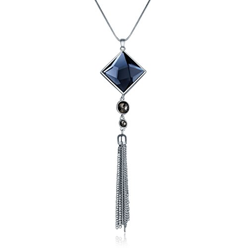 Diomate Square Glass Pendant Alloy Long Tassel Necklace for Women (Square Pendant)
