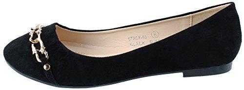 Bella Marie Scarpe Da Donna Stacy-93 Slip On Flats Con Catena Decorativa Nera