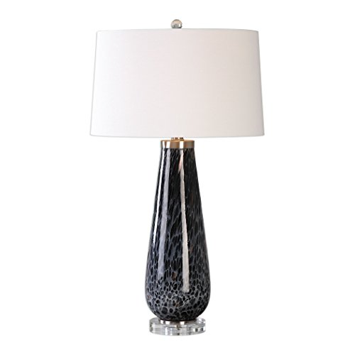 Charcoal Gray Black White Art Glass Table Lamp