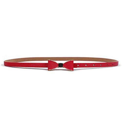 LeNG Nice Slim Belts for Women Summer Bow Leather Belt Girls Ladies Waist PU Metal Dress Belt Bowknot Strap,OneSize,Red by LeNG Apparel-belts