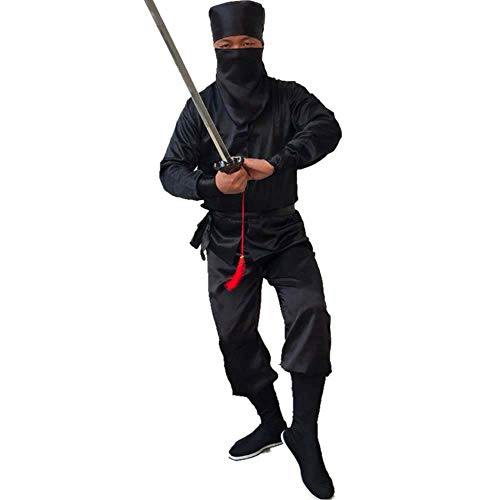 Stealth Ninja Costume Unisex Traditional Chinese Tang Suit Kung Fu Uniform Masked Samura Warrior Fancy Dress (Black, Adult-L)