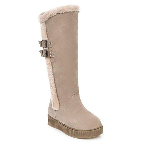 talón Chunky botas La amp;X grueso CXQ inferior Botas mujer QIN largas Beige zapatos vFXqcCwY