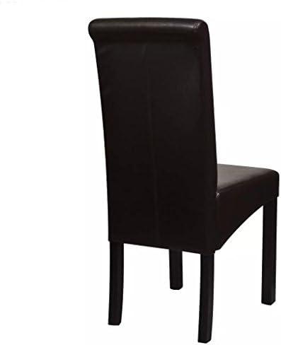 SENLUOWX Chaise de Salle à Manger 2 pcs Cuir synthétique Marron et Pieds en Bois + Rembourrage en Cuir synthétique