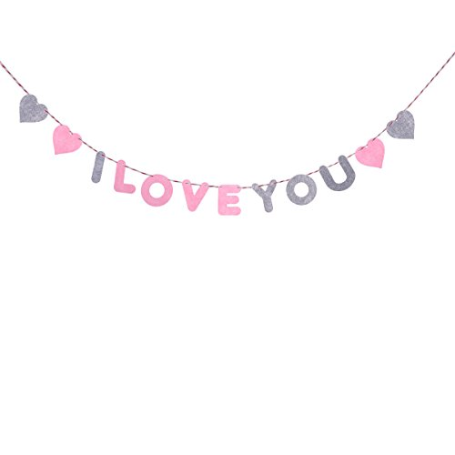 (I LOVE YOU Valentine's Day Bunting Banners Garland Romantic Decorations For Wedding Bridal Shower Marriage Proposal Party)