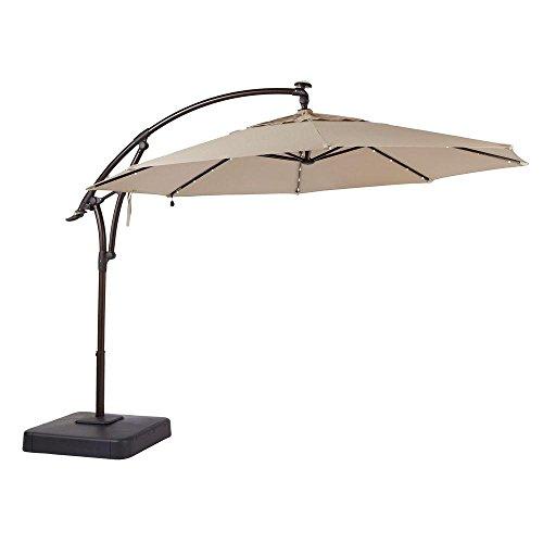 Hampton Bay 11 ft. Offset LED Patio Umbrella in Tan (132x111x132, Sand) (Hampton Bay Patio Umbrella)