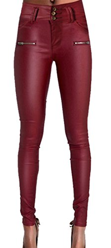 Zipper Front Leather Pants - 2