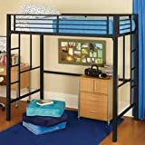 black metal loft twin bed, great for dorms!