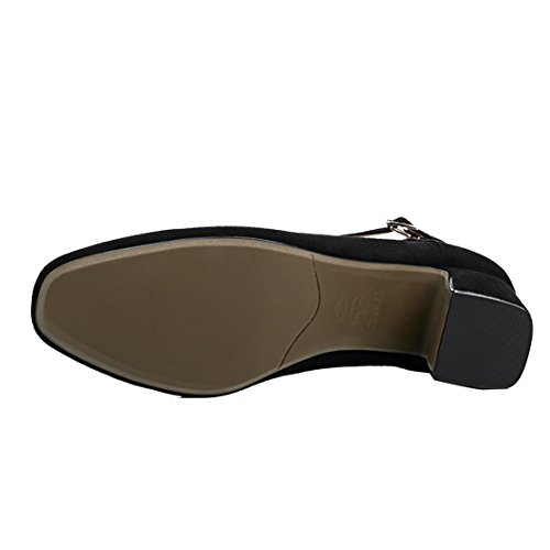 AIYOUMEI Damen Geschlossen Pumps mit Schnürung und 5cm Absatz Chunky Heel Bequem Sommer Wildleder Schuhe Schwarz
