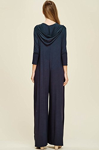 Annabelle Women's Wide Leg Jumpsuit with 3/4 Sleeves and Round Neck Slate XX-Large J8067P by Annabelle U.S.A (Image #2)