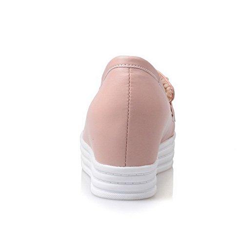 AllhqFashion Damen Ziehen auf Rund Zehe Hoher Absatz PU Leder Rein Pumps Schuhe Pink