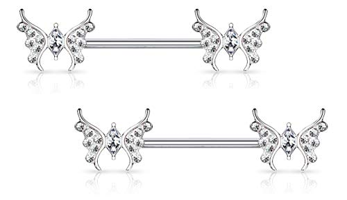 Forbidden Body Jewelry Pair of Surgical Steel 9/16 Inch (14mm) Sexy Whimsical CZ Studded Butterfly Nipple Rings, Silver Tone
