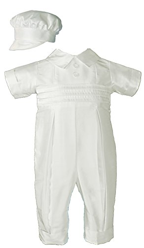 White Silk Christening Baptism Coverall with Hat, 06 Month -