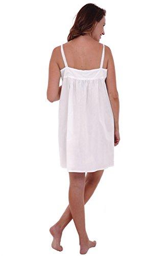 Alexander Del Rossa Womens Priscilla Cotton Nightgown, Sleeveless Victorian Sleepwear, Small White (A0527WHTSM)