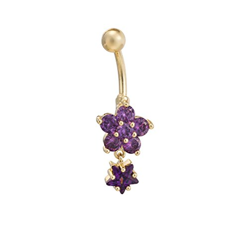 Fashion Women Body Piercing Jewelry 14G Hypoallergenic Stainless Steel Cubic Zirconia Belly Button Ring Navel Rings Crystal Rhinestone Flower Gold With Amethyst
