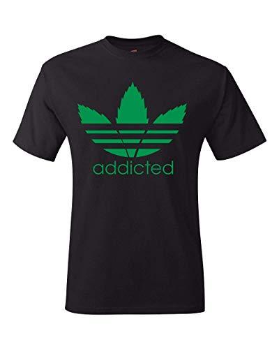 Mens T-Shirt Addicted Weed Leaf Tee Shirt