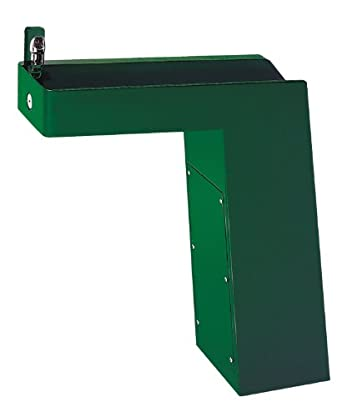 Haws 3202 Galvanized Steel Barrier-Free Trough Style Pedestal Drinking Fountain with Green Powder-Coated Finish