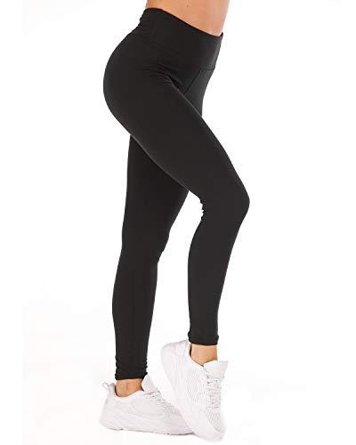 CHRLEISURE Soft Yoga High Waisted Leggings for Women - Tummy Control Stretch Basic Leggings Work Out Leggings Black -