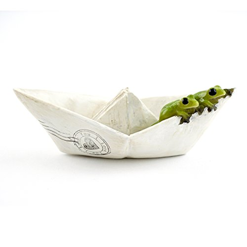 Top Collection Miniature Fairy Garden and Terrarium Sealed with Love Frogs on Paper Boat Statue