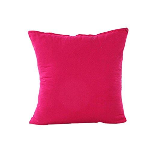 Woaills Cotton Linen Cushion Cover Stripe Home Decor Invisible Zipper Pillow Case (G)