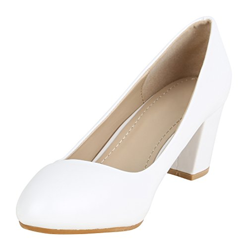 Stiefelparadies Klassische Damen Pumps Mid Heels Leder-Optik Schuhe Blockabsatz Flandell Weiss Glatt