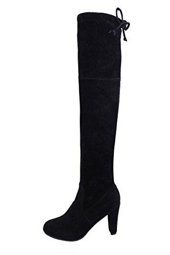 Gaorui Womens Sur Le Genou Cuisse Haute Hiver Bottes De Neige Bloc Haut Talon Stretch Bottes Chaussures Scolaires Noir Gris Noir