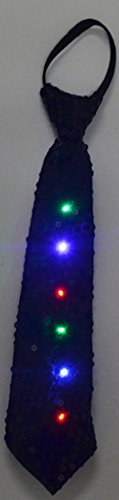 LED Light Up Flashing Sequin Party Ties - Various Colors by Mammoth Sales