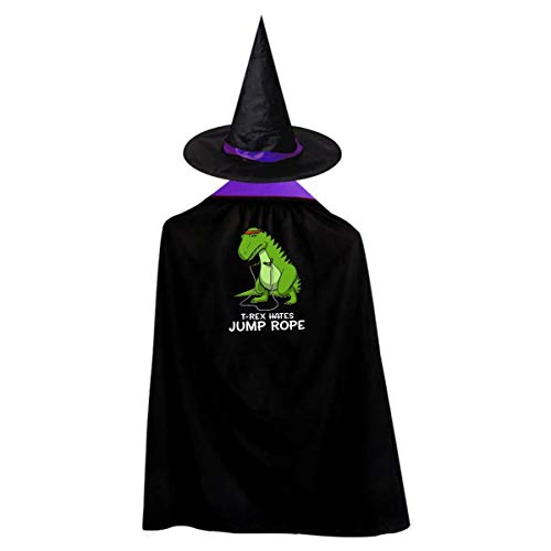 (T-rex Hates Jump Rope Kids' Witch Cape With Hat Classic Vampire Cloak For Halloween Cosplay Costume)